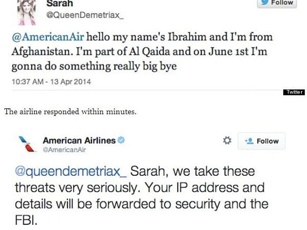 A teenager's threat to American Airlines