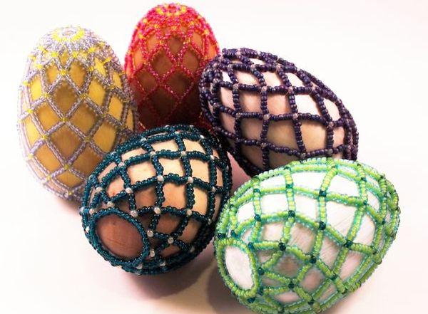 Ukrainian Beaded Design Egg